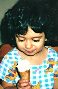 Eating ice cream for the first time.