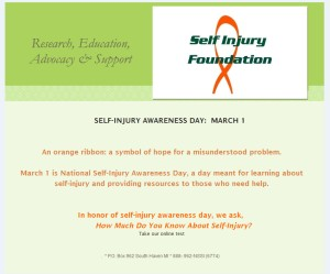 Self-Injury Awareness Day - March 1st - Anchor Of Promise